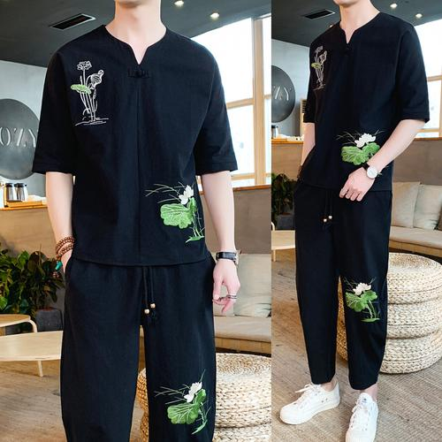 Loldeal Chinese Embroidery Lotus Leaf Tracksuit Mens Large Size Loose Pants Short Sleeve T-Shirt Summer Set