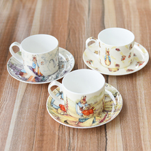 European Bone China Coffee Cup Saucer Cartoon Lookout Rabbit Red tea  Milk cup English afternoon set Creative Gifts