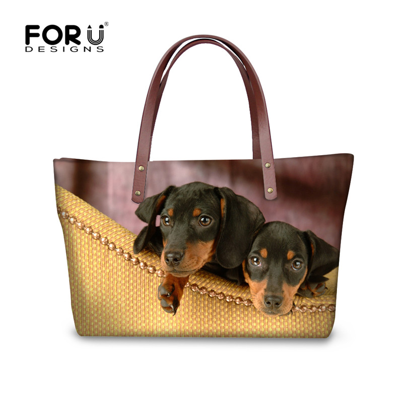FORUDESIGNS 3D Dachshund Print Handbags Women Famous Brands,Cute Animal Dog Ladies Tote Hand Bag,Large Woman Beach Shoulder Bags