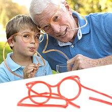 Funny Soft Drinking Straw Eye Glasses Novelty Toy Party Birthday Gift Child Adult DIY Straws Bar Accessories