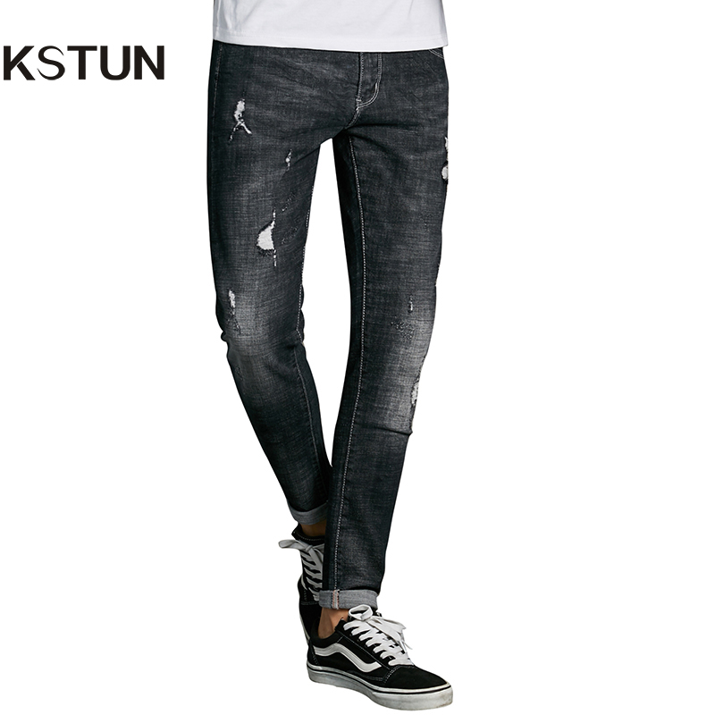 KSTUN Autumn Men Jeans Skinny Ripped Stretch Slim Quality Korean Men's Jeans Destoryed Black High Stretch Denim Male Pants 38 men s cowboy jeans fashion blue jeans pant men plus sizes regular slim fit denim jean pants male high quality brand jeans