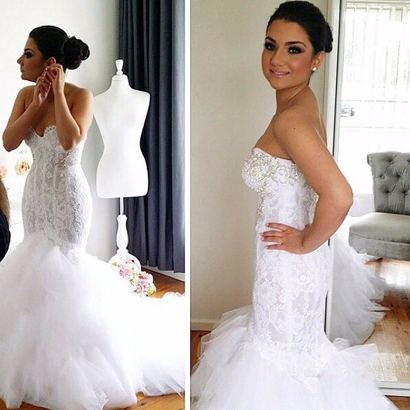 New Arrival vestido de noiva sereia Appliques Beads Long Strapless Fishtail Wedding Dress Best Selling Tulle Style Bridal Gown in Wedding Dresses from Weddings Events