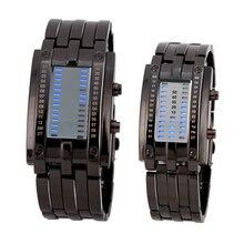 Роскошные влюбленных наручные часы Водонепроницаемый Для мужчин Для женщин Нержавеющаясталь Синий двоичной световой привело электронные Дисплей Спорт Часы Мода