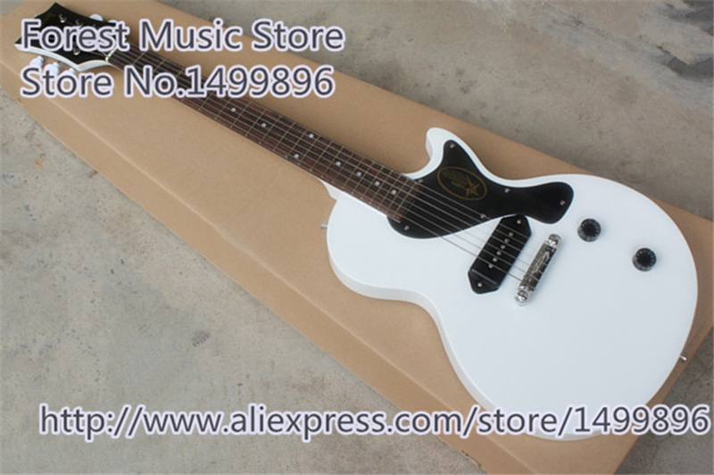 Hot Selling Simplicity LP Junior 2015 Electric Guitars In White Color Chinese Mahogany Guitar Body For Sale hot selling matte tiger flame finish lp standard electric guitars with solid mahogany guitar body in stock