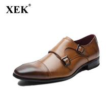 DADIJIER Men shoes brand genuine leather shoes black brown Men dress double monk buckle straps wedding Goodyear shoes ST233