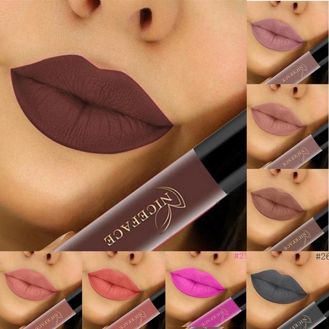 24 colores pintalabios mate impermeable de larga duración rojo brillo de labios marrón cosmético rosa púrpura desnudo mate líquido lápiz labial hacer A