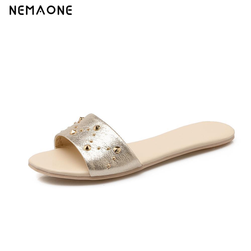 NEMAONE New 2019 women flip flops Beach sandals fashion Bling slippers summer women flats shoes woman flat sandals kuyupp fashion leather women sandals bohemian diamond slippers woman flats flip flops shoes summer beach sandals size10 ydt563
