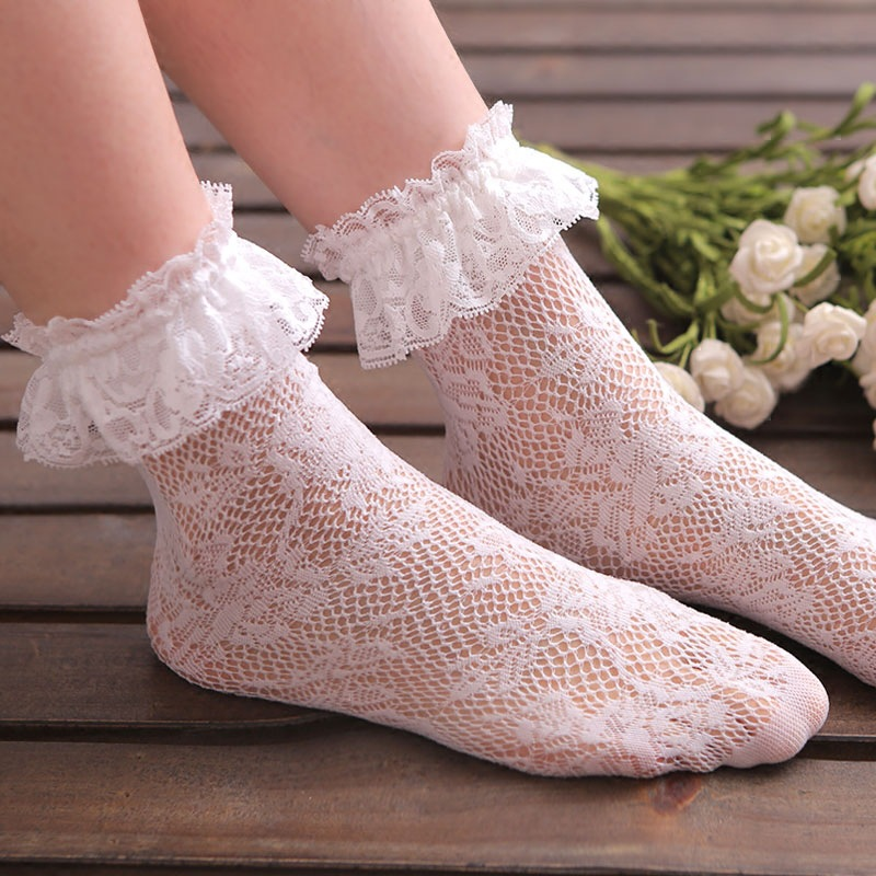 High Quality Women Girls Ladies Soft Sexy Lace Floral Short Ankle Fishnet   Socks   Cute Vintage Retro Low Cut White Princess   Socks