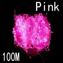 Розовый цвет 100 метров 800 led Рождественские огни 8 режимов