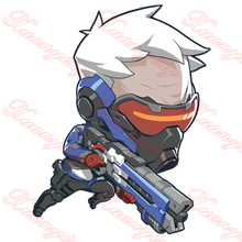 3D Overwatch Soldier:76 Q-style Cartoon Figures Animal Vinyl Stickers Car Bicycle Motorcycle Trolley Laptop Doodle Decals JDM