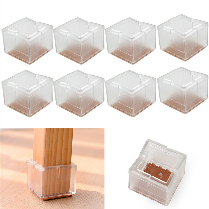 High Quality 8pcs/lot Silicone Square Chair Legs Caps Table Legs Pads Felt  Bottom Floor