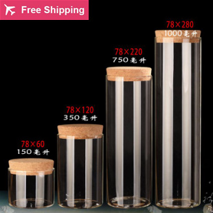 150/350/750/1000ml Empty Tube Glass Bottles With Cork Transparent High Borosilicate Glass Bottles Containers Vials Tea Canister 20pcs mini message bottles tiny empty clear cork glass bottles vials wedding holiday favour decoration christmas drifting bottle