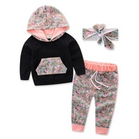 3Pcs Set Printed Flower Baby Girls Clothes Newborn Infant Hooded Sweatshirt Tops Pants Outfits Headband Kids