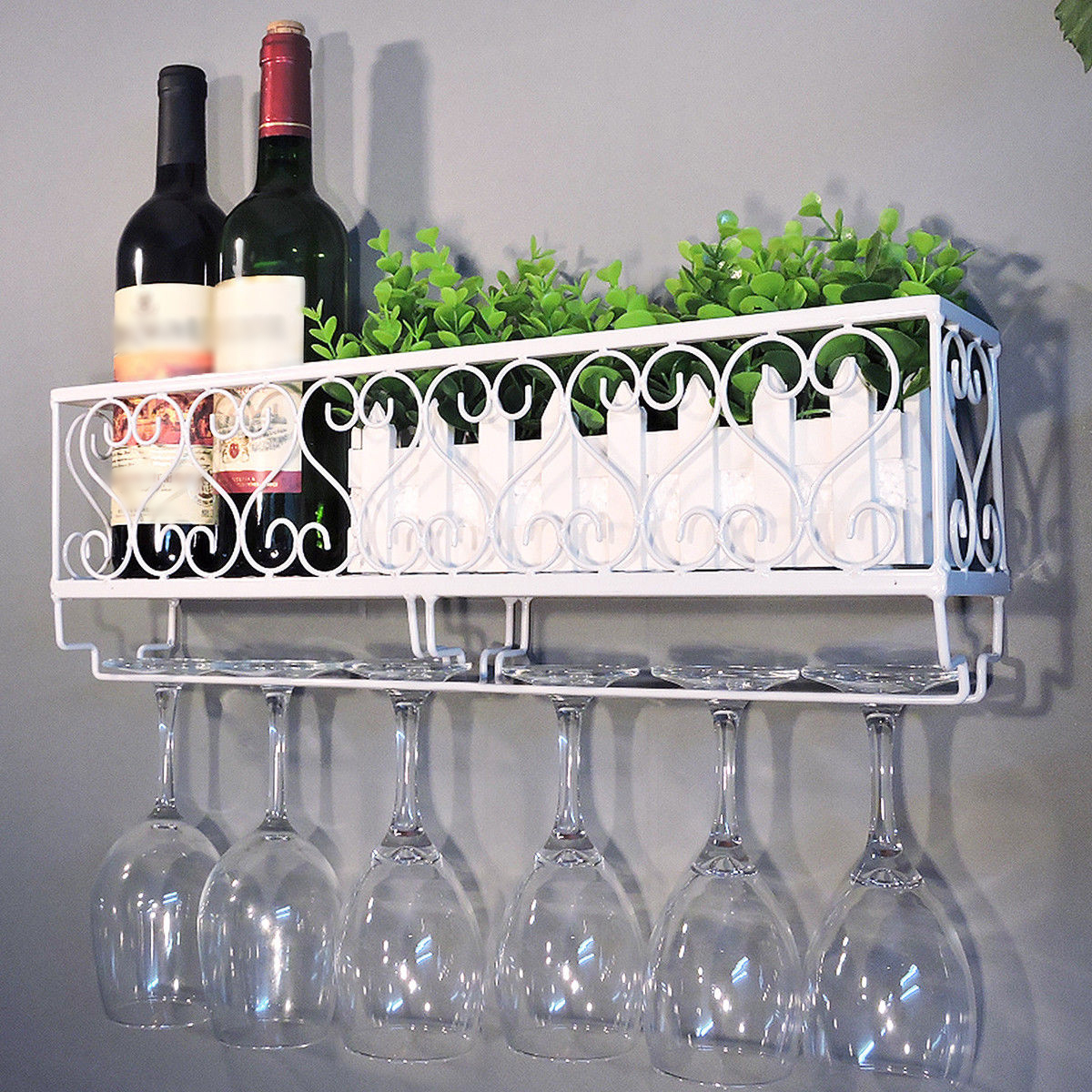Wall Mount Metal Wine Rack Bottle Shelf With Gl Holder Home Bar Decor
