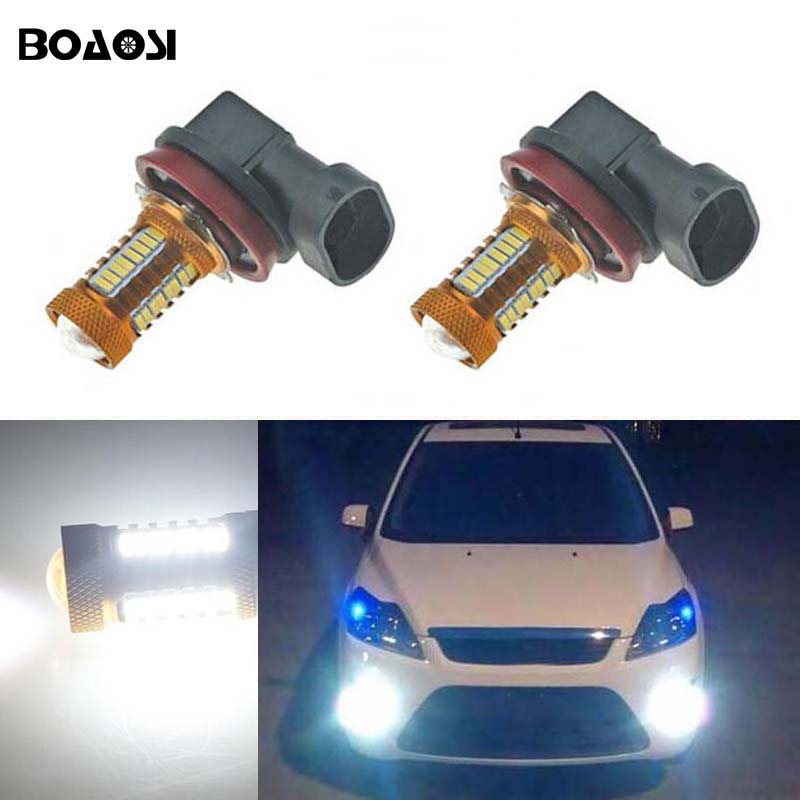 BOAOSI 2x H8 H11 4014 CREE Chip LED Fog Light Driving Bulbs Error Free for FORD MONDEO MK3 MK4 C-MAX S-MAX FOCUS 01+ FUSION