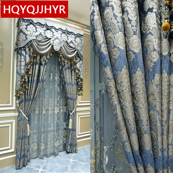 Brown top royal embroidery luxury villa curtains for Living Room Windows classic European high-end custom curtains for Bedroom window valance