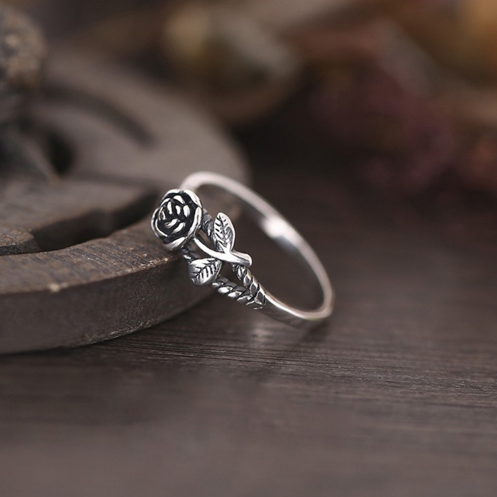Women Girls Flower Design Vintage Style Ring Alloy Hand Decoration Jewelry Birthday Gifts