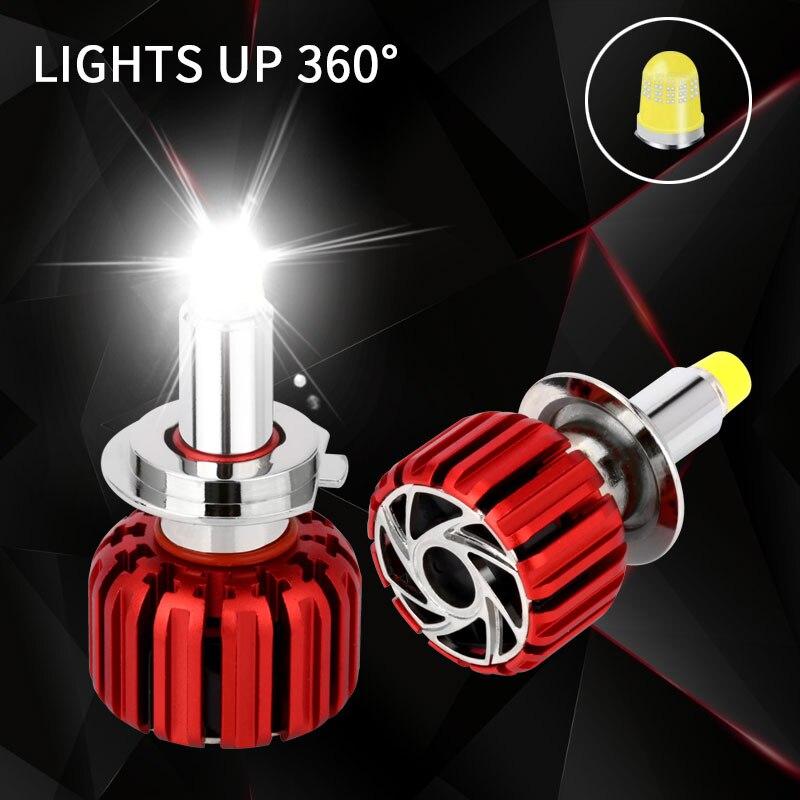 Автомобиль свет светодио дный фар H7 светодио дный лампа комплект Turbo светодио дный 360 освещения H1 светодио дный H11 9005 9006 HB4 9012 HIR2 7000LM Глава Лам...