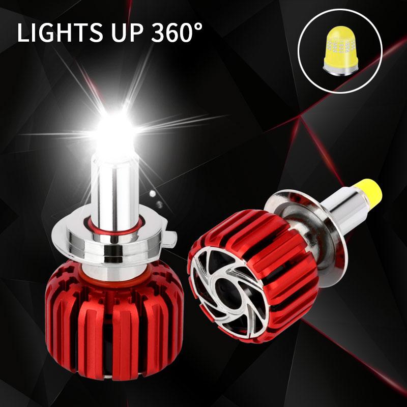 Car Light LED Headlight H7 LED Bulb Kit Turbo Led 360 Lighting H1 LED H11 9005 9006 HB4 9012 HIR2 7000LM Head Lamp Bulb For Auto