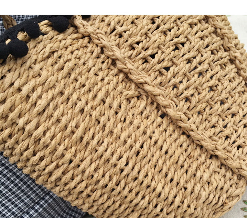 REREKAXI New Bohemian Beach Bag for Women Cute Handmade Straw Bags Summer Grass Handbags Drawstring Basket Bag Travel Tote 13
