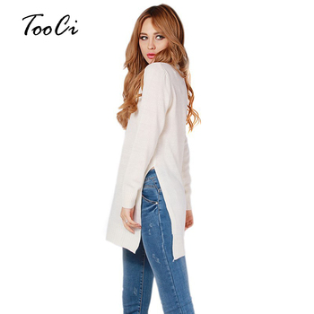 Fashion White Sweater Women Long Sleeve Top Knitted Sweaters Pullovers High Split Hem Casual Knitwear Solid Women'S Clothing