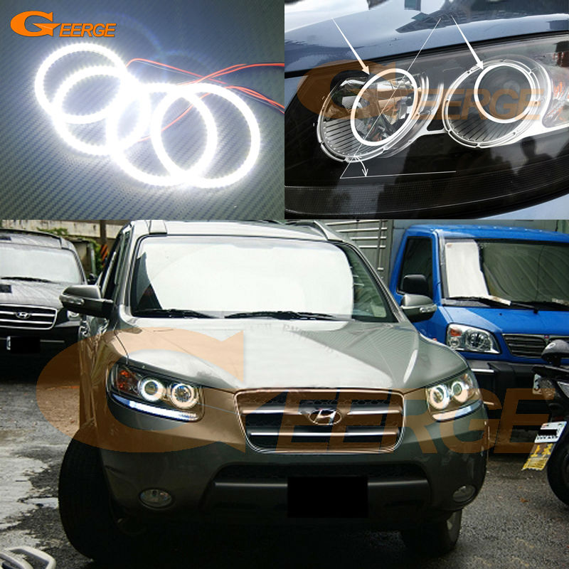 For Hyundai Santa Fe santafe 2007 2008 2009 2010 2011 2012 Excellent smd led Angel Eyes kit Ultra bright illumination Halo Ring seintex 85749 hyundai santa fe 2013 black