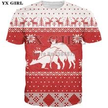 YX Girl 2018 Christmas Style T shirt for Women Men New Fashion Tshirts Reindeer Deer 3d Print T-shirt Unisex Tees Tops