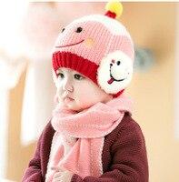 Baby Cap Children Warm Hat Scarf Cartoon Two Piece Set Toddler Boys Girls Hats Winter Gift