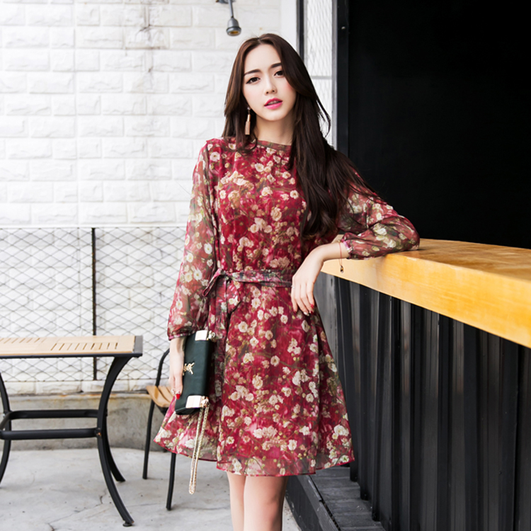 370176114 TingYiLi Elegant Ladies Short Party Dress Red Floral Dress Women Long  Sleeve Dress Autumn-in Dresses from Women's Clothing on Aliexpress.com |  Alibaba Group