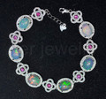 Opal chain bracelet Natural original opal 925 sterling silver 0.78ct*6pcs,0.11ct*7pcs gems Flower jewelry  #16062303