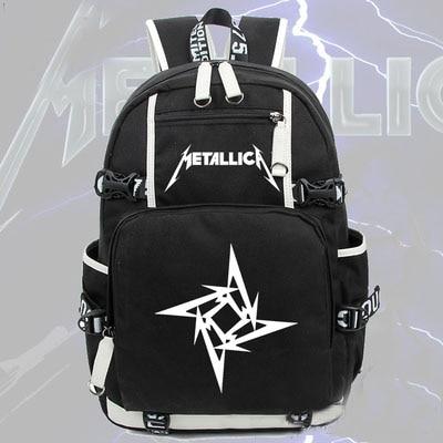 Hot Metallica Band Backpack HIPhop Canvas Bag Luminous Schoolbag Travel Bags толстовка hiphop