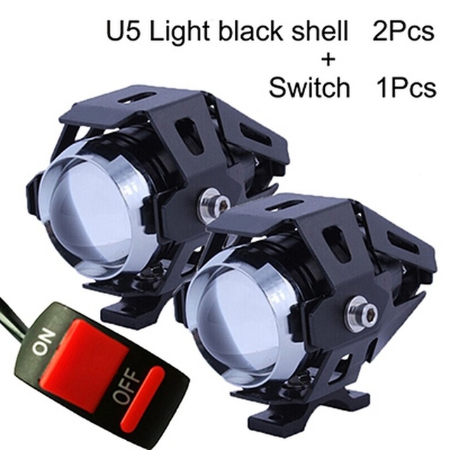 2PCS 125W Auxiliary Car Motorcycle Headlights Lamp U5 Led Lamps for Motorcycle Spotlights Headlight 12V Motor Spot Head Lights