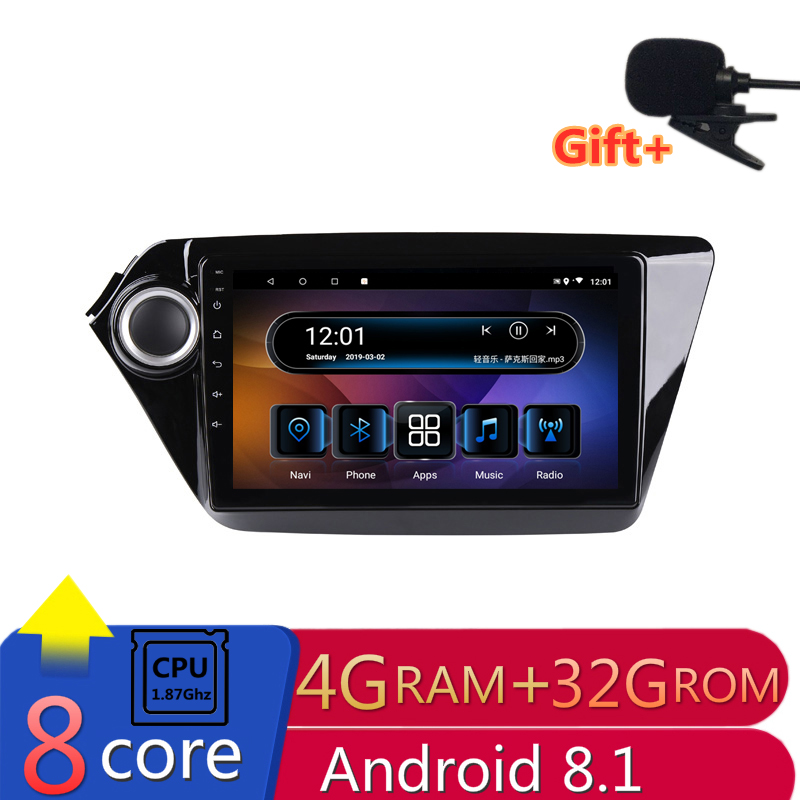"9"" 4G RAM 2.5D IPS 8 CORE Android 8.1 Car DVD Multimedia Player GPS for Kia Rio 3 K2 2012 2013 2014 2015 audio radio navigation"