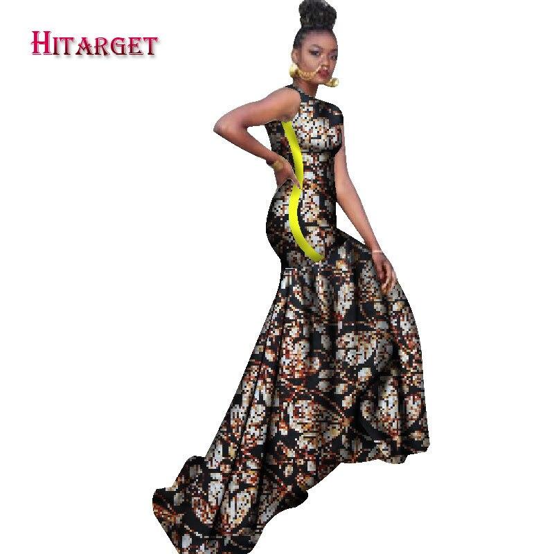 2018 robes africaines pour femmes bazin riche style femme vêtements africains gracieuse dame impression cire grande taille fête longue robe WY1211 - 5