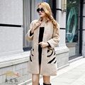 Gold 2016 fur one piece sheep shearing fur coat fur overcoat female medium-long berber fleece