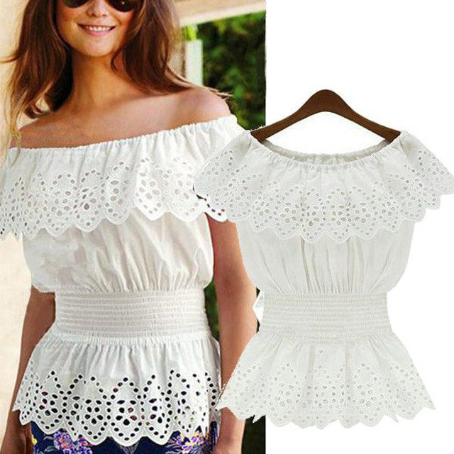 c747b927d17 Blusas 2018 Summer Women Short Sleeve Blouse White Lace Floral Blouses  Hollow Sexy Casual Tops Off