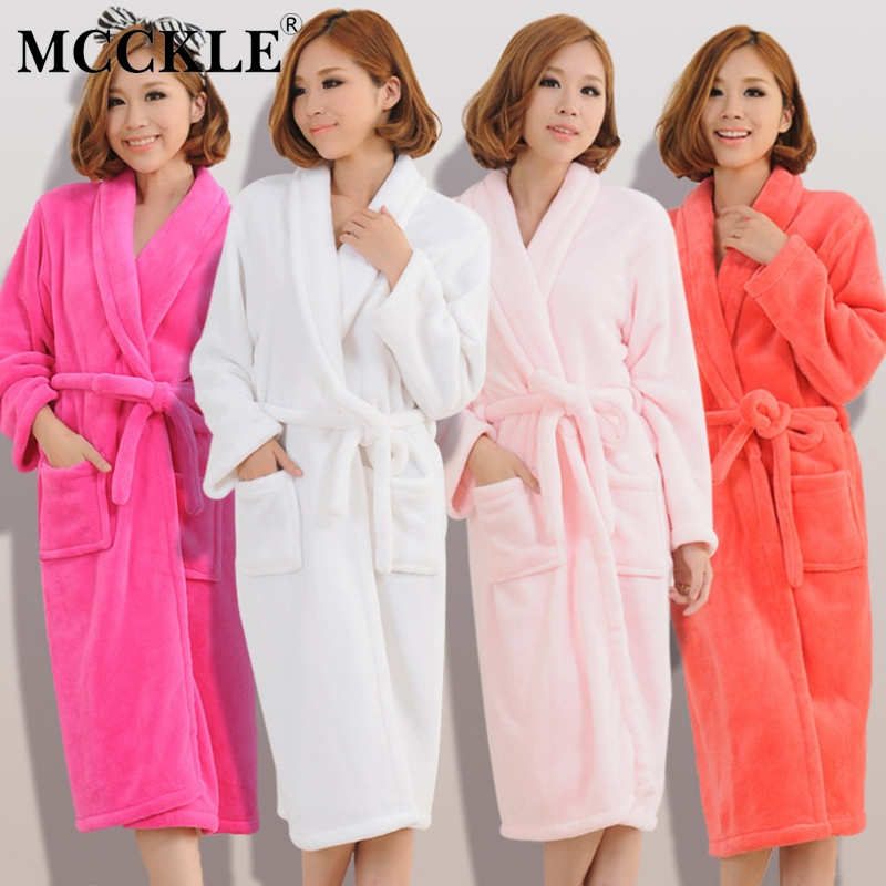 Women Men Flannel Bathrobe Nightgown Solid Sashes Lace Up Home Clothes Couple Womens 2019 Winter Autumn Thick Nightie Female