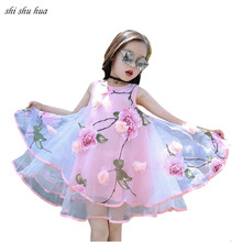 Girls Clothes Dress Cotton Yarn Print Vest Princess Baby Birthday Party Vestido Infantil 4-10 Y Child Quality Clothing Hot Sale