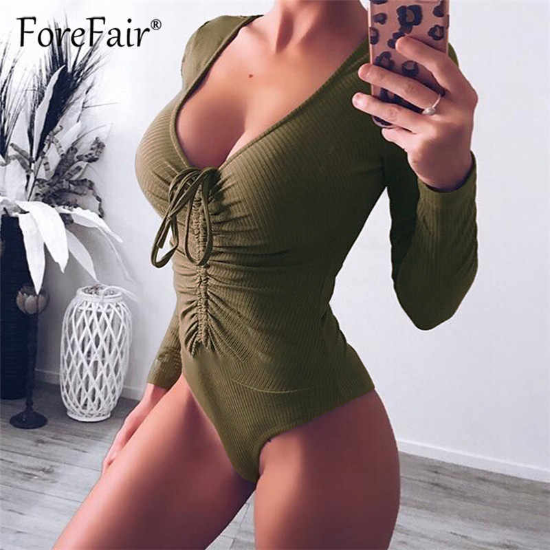 496c3cd22ad7f0 Forefair Slim Black Bodysuit Autumn Winter Rompers Womens Jumpsuits Long  Sleeve V Neck Drawstring Ruched Skinny