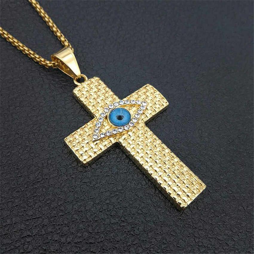 Egipski duży krzyż naszyjniki wisiorki dla mężczyzn oko horusa złoty kolor ze stali nierdzewnej egipt Symbol biżuteria mężczyzna prezent