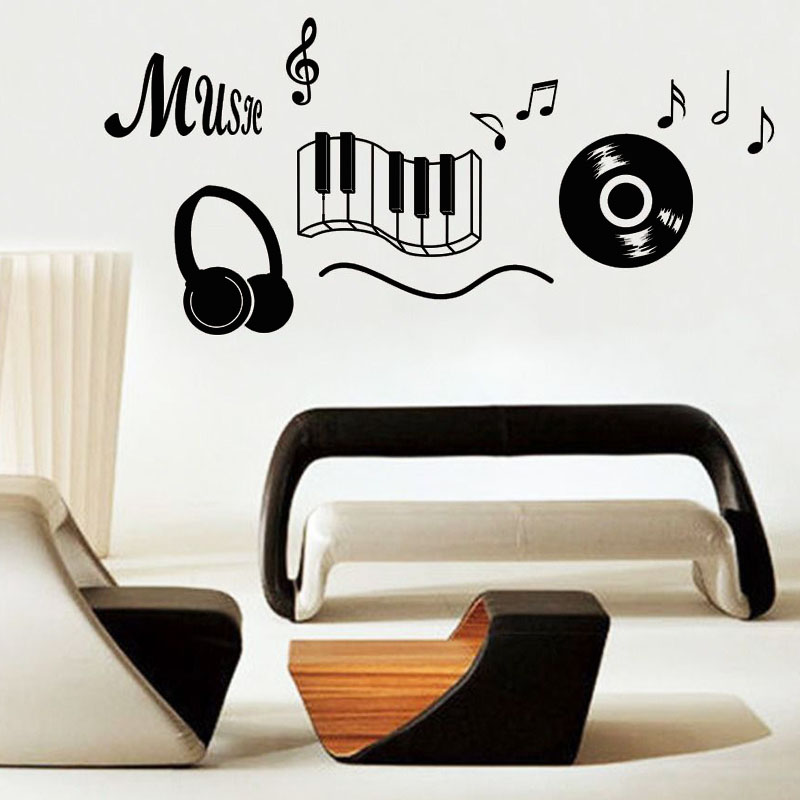 Musical Instrument Headphone Wall Sticker Removable Vinyl Self Adhesive Music Note Home Decor