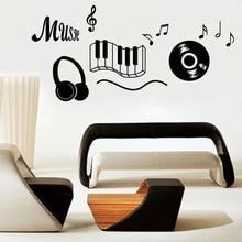 Музыкальный Инструмент Наушников Стикер Стены Съемный Виниловые Самоклеющиеся Музыка Примечание Home Decor