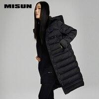 Misun 2017 new medium long female fashion thickening black slim outerwear hooded autumn winter down coat womenMSD V7075