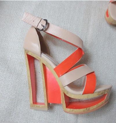 2 Plate Fretwork color Chunky forme 1 Sandales Mélangées Défilé Chaussures Croisés Couleurs Sexy Contraste Color Lacets Talons Étrange BfTx4THqw