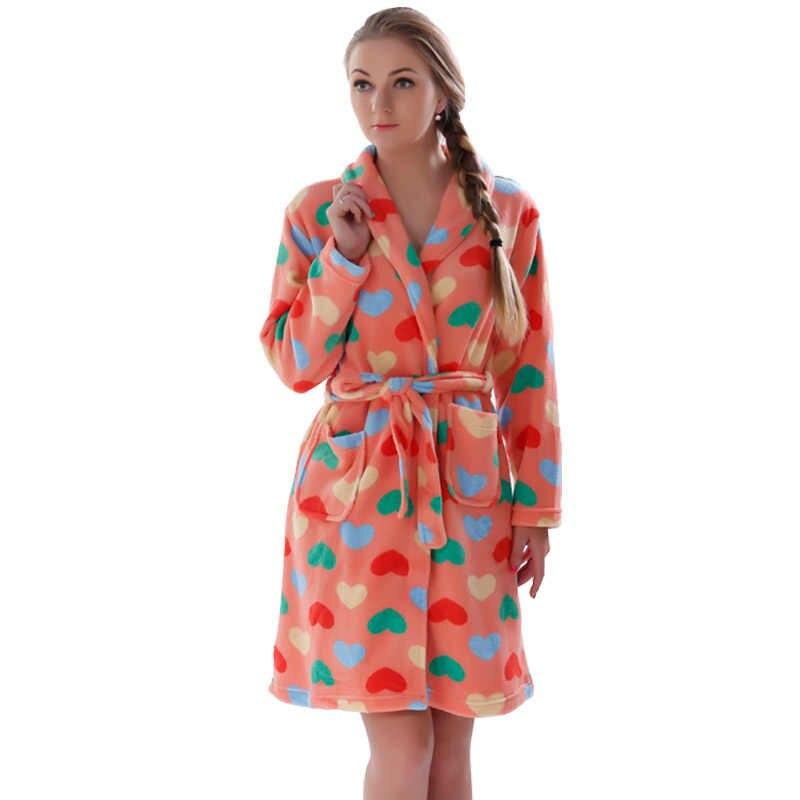 Ladies Winter Autumn Soft Coral Fleece Bath Robe Love Lingerie Nightwear  Kimono Warm Sleepwear Bathrobe For 6da68b75f