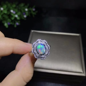 Image 3 - Natural opal woman rings change fire color mysterious  925 silver adjustable size
