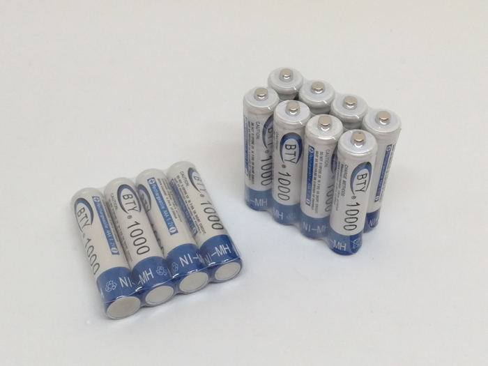 100PCS/LOT Original BTY AAA 1000mAh 1.2V Ni-MH Rechargeable Battery Batteries AAA BTY Cell for MP3 RC Toys Free Shipping