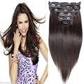 7A Remy Clip en extensiones de cabello humano recto completo Head barato virgen Clip en extensiones de cabello 120 g Brown del pelo humano 10 unids/set
