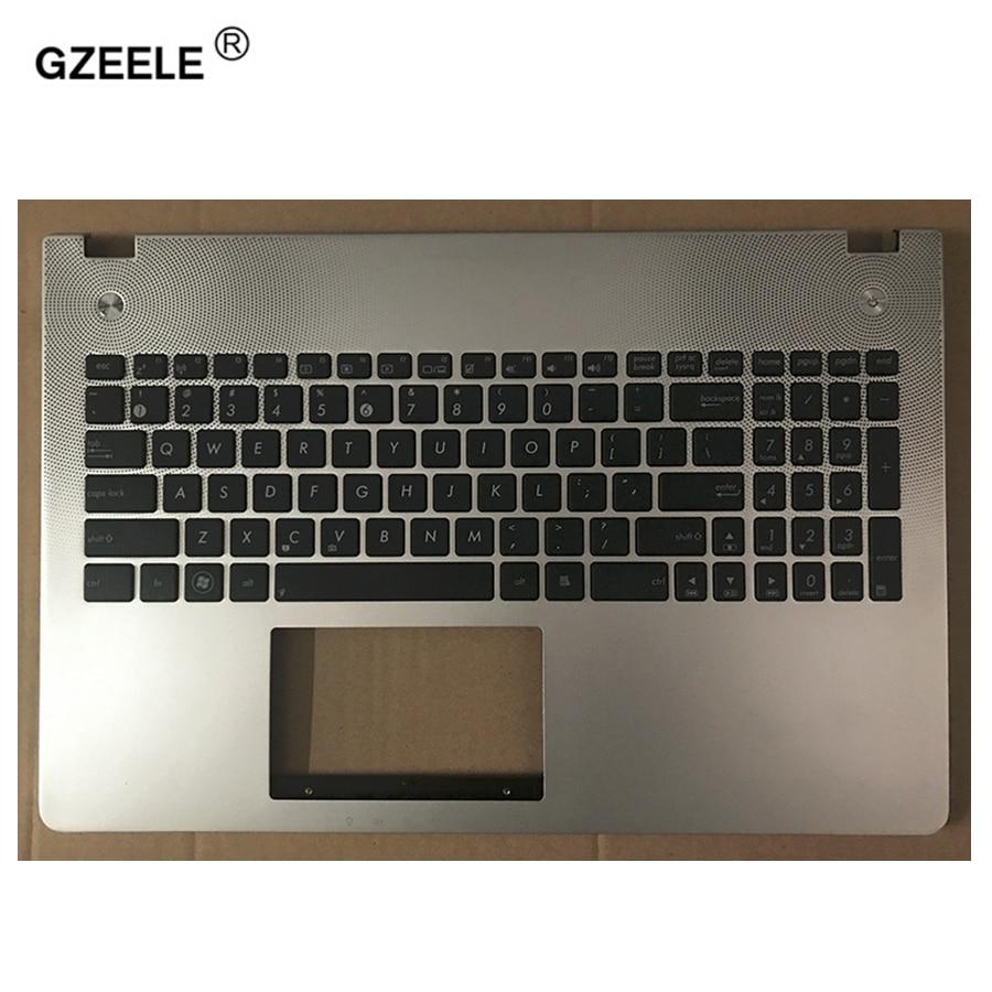 GZEELE New US English Keyboard For ASUS N56VB N56VJ N56VM N56VZ Top Cover Upper Case Palmrest Silver Topcase Keyboard Bezel
