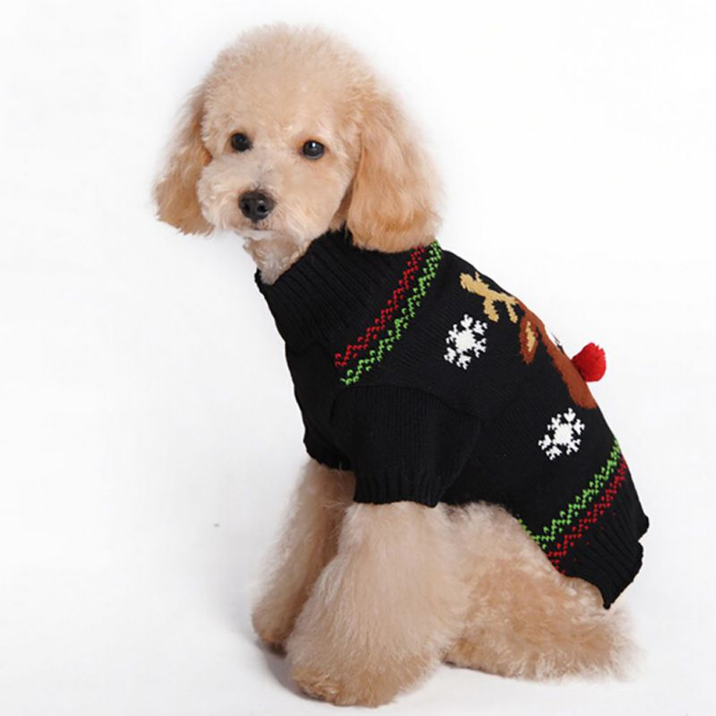 Hot Sales Pet Dog Winter Clothes Christmas Sweater Black Knitted Hoodies Dog Cats Warm Jacket Coat Elk Snow Printed